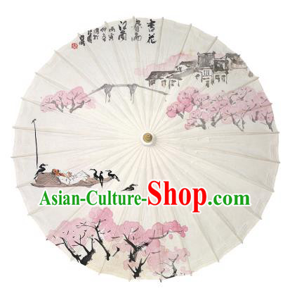 Chinese Traditional Paper Umbrella Folk Dance Handmade Ink Painting Oil-paper Umbrella Yangko Umbrella