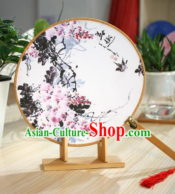 Chinese Traditional Round Fans Handmade Ink Painting Flowers Circular Fan China Ancient Palace Fans