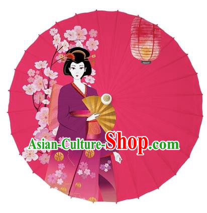 Chinese Traditional Paper Umbrella Folk Dance Handmade Painting Oriental Cherry Red Oil-paper Umbrella Kimono Umbrella