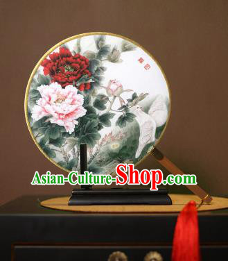 Chinese Traditional Circular Fans Handmade Printing Peony Flowers Round Fan China Ancient Palace Dance Fans