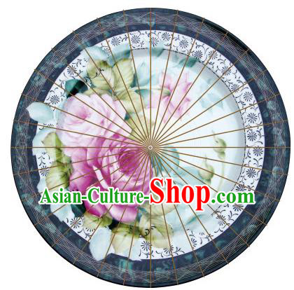 Chinese Traditional Artware Paper Umbrella Classical Dance Printing Pink Lotus Oil-paper Umbrella Handmade Umbrella