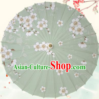 Chinese Traditional Artware Green Paper Umbrella Classical Dance Printing Peach Blossom Oil-paper Umbrella Handmade Umbrella