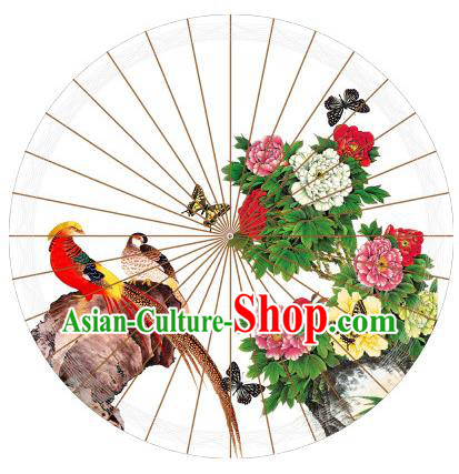Chinese Traditional Artware Painting Golden Pheasant Peony Paper Umbrella Classical Dance Oil-paper Umbrella Handmade Umbrella