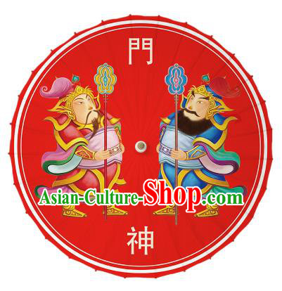 Chinese Traditional Artware Printing Door-god Umbrella Classical Dance Red Oil-paper Umbrella Handmade Umbrella