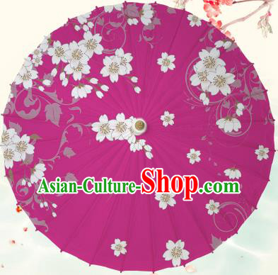 Chinese Traditional Artware Rosy Paper Umbrella Classical Dance Printing Peach Blossom Oil-paper Umbrella Handmade Umbrella