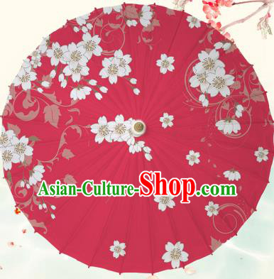 Chinese Traditional Artware Red Paper Umbrella Classical Dance Printing Peach Blossom Oil-paper Umbrella Handmade Umbrella