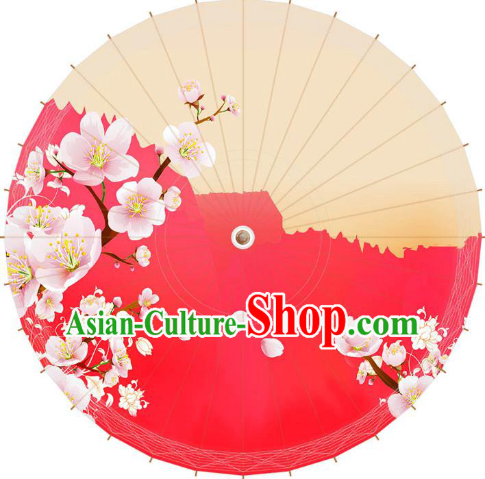 Chinese Traditional Artware Wedding Paper Umbrella Printing Peach Blossom Oil-paper Umbrella Handmade Umbrella