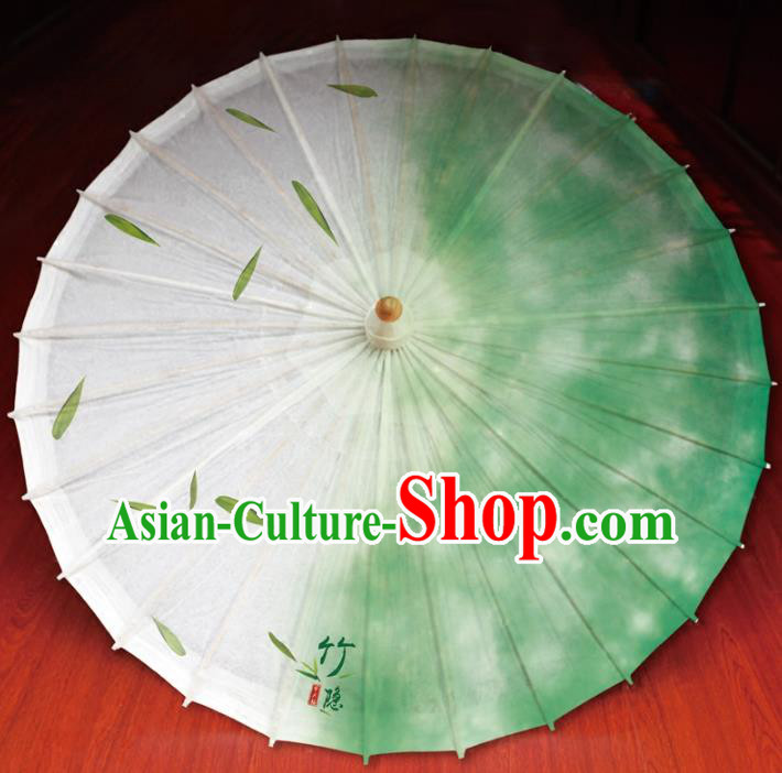 Chinese Traditional Artware Paper Umbrella Printing Bamboo Leaf Green Oil-paper Umbrella Handmade Umbrella