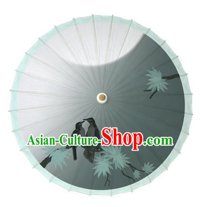 Chinese Traditional Artware Paper Umbrellas Printing Birds Green Oil-paper Umbrella Handmade Umbrella