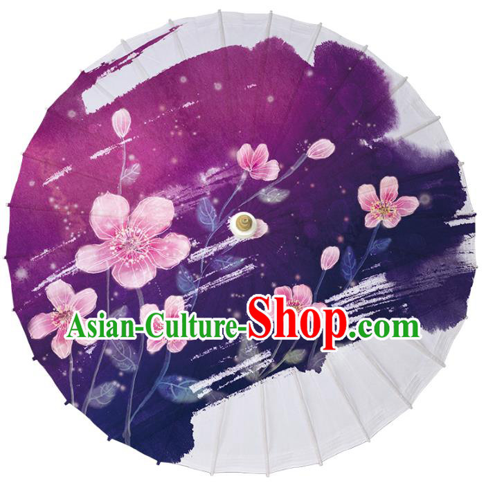 Chinese Traditional Artware Dance Umbrella Printing Flowers Purple Paper Umbrellas Oil-paper Umbrella Handmade Umbrella