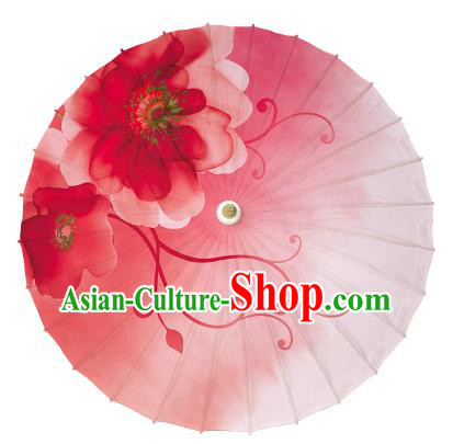 Chinese Traditional Artware Dance Umbrella Printing Red Paper Umbrellas Oil-paper Umbrella Handmade Umbrella