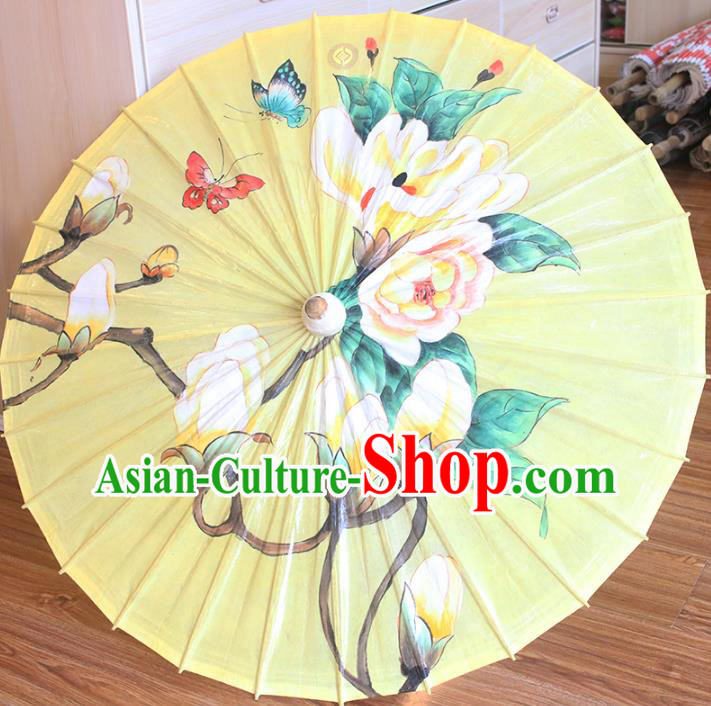 Chinese Traditional Artware Dance Umbrella Printing Mangnolia Yellow Paper Umbrellas Oil-paper Umbrella Handmade Umbrella