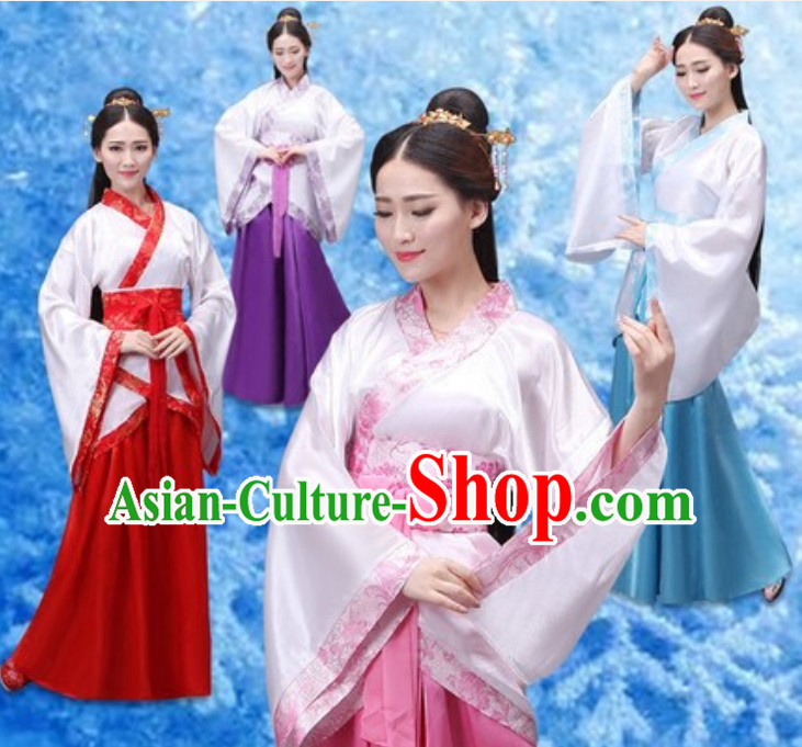 Ancient Chinese Han Dynasty National Costume Dress Clothing  Complete Set for Women Girls