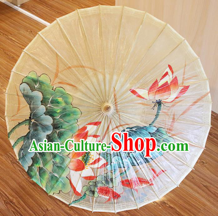 Chinese Traditional Artware Dance Umbrella Hand Painting Red Lotus Paper Umbrellas Oil-paper Umbrella Handmade Umbrella