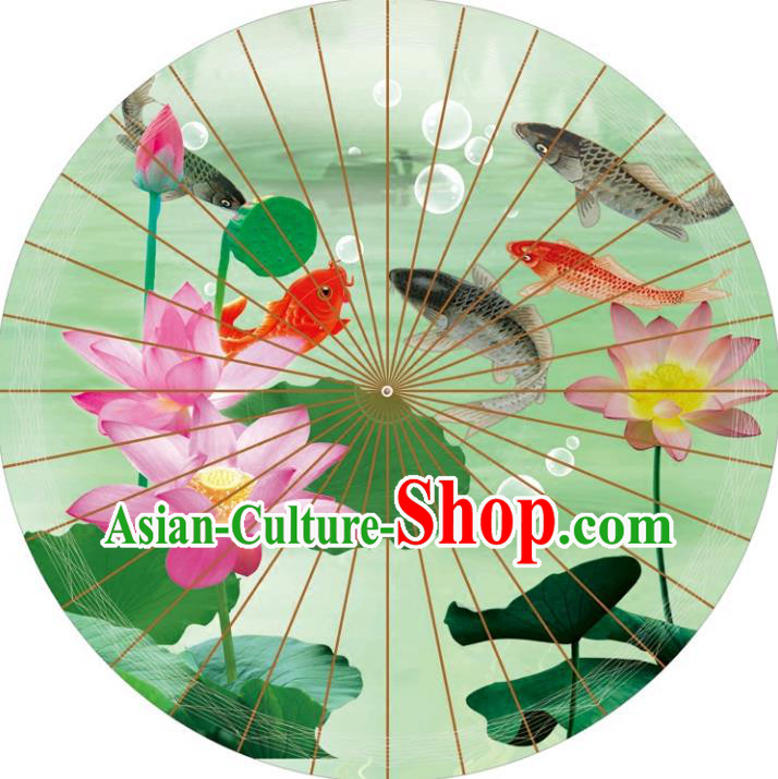Chinese Traditional Artware Paper Umbrellas Printing Lotus Green Oil-paper Umbrella Handmade Umbrella