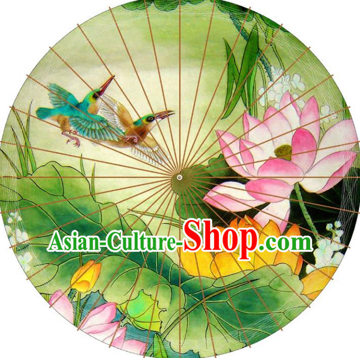 Chinese Traditional Artware Paper Umbrellas Printing Lotus Flowers Green Oil-paper Umbrella Handmade Umbrella