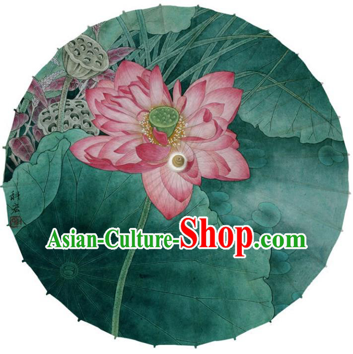 Chinese Traditional Artware Green Paper Umbrellas Printing Red Lotus Oil-paper Umbrella Handmade Umbrella