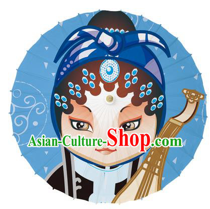 Chinese Traditional Artware Paper Umbrellas Printing Peking Opera Oil-paper Umbrella Handmade Umbrella