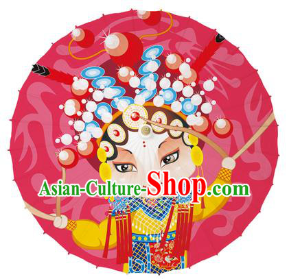 Chinese Traditional Artware Red Paper Umbrellas Printing Peking Opera Magic Warriors Oil-paper Umbrella Handmade Umbrella