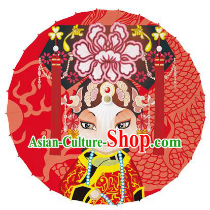 Chinese Traditional Artware Red Paper Umbrellas Printing Peking Opera Imperial Consort Oil-paper Umbrella Handmade Umbrella