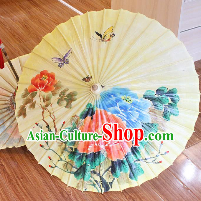 Chinese Traditional Artware Paper Umbrellas Printing Butterfly Lotus Oil-paper Umbrella Handmade Umbrella