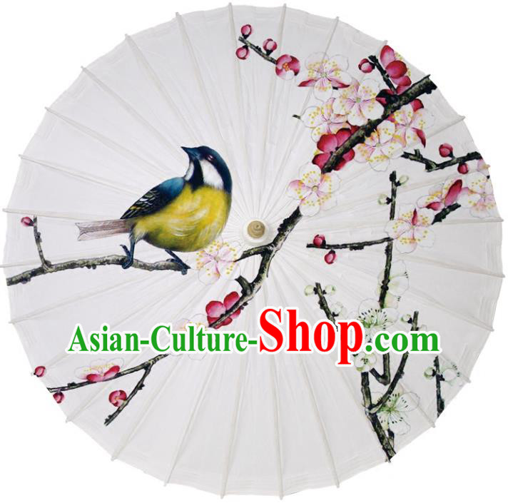 Chinese Traditional Artware Dance Umbrella Printing Wintersweet Birds Paper Umbrellas Oil-paper Umbrella Handmade Umbrella
