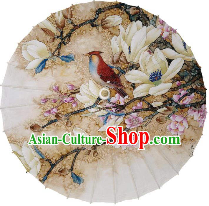 Chinese Traditional Artware Dance Umbrella Printing Mangnolia Birds Paper Umbrellas Oil-paper Umbrella Handmade Umbrella