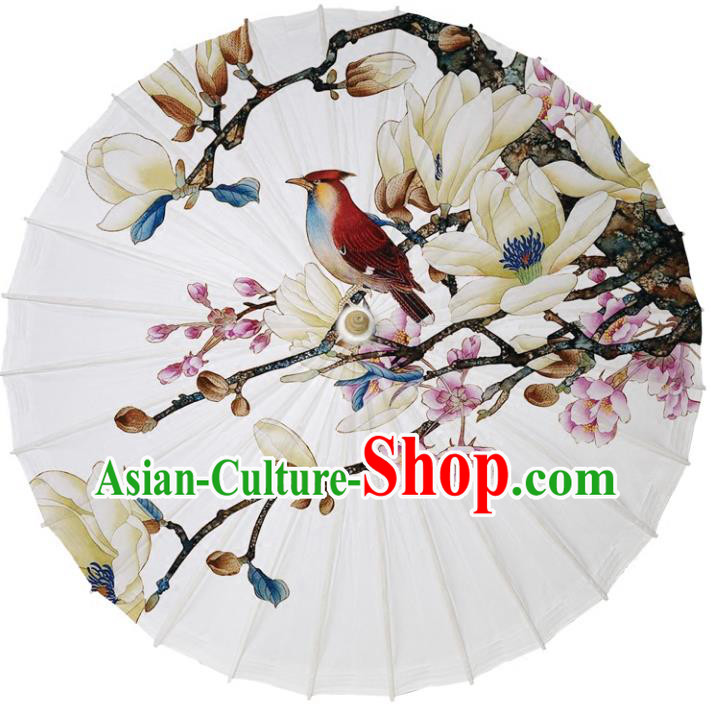 Chinese Traditional Artware Dance Umbrella Printing Mangnolia Birds Paper Umbrellas White Oil-paper Umbrella Handmade Umbrella