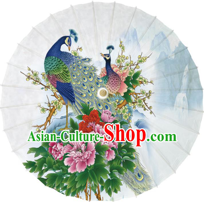 Chinese Traditional Artware Dance Umbrella Printing Peacock Peony Flowers Paper Umbrellas Oil-paper Umbrella Handmade Umbrella