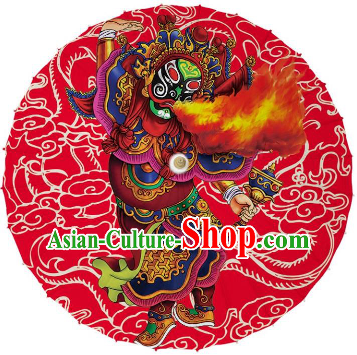 Chinese Traditional Artware Dance Umbrella Printing God of Door Paper Umbrellas Oil-paper Umbrella Handmade Umbrella