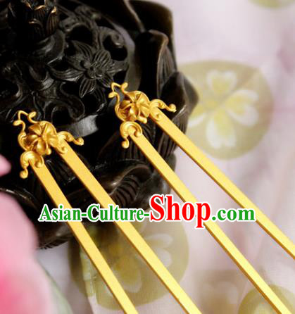 Chinese Handmade Classical Hair Accessories Golden Lotus Hairpin Hair Sticks Hanfu Hairpins for Women