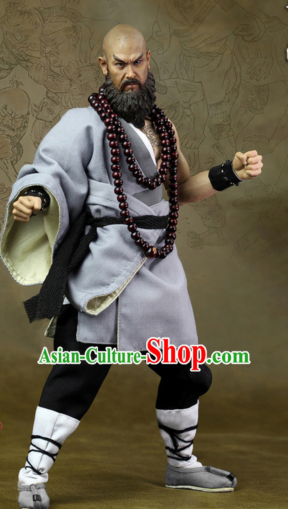 Ancient Chinese Monk Theater and Reenactment Costumes and Necklace Complete Set