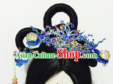Chinese Handmade Classical Hair Accessories Blueing Phoenix Coronet Hairpins Hair Stick Complete Set for Women