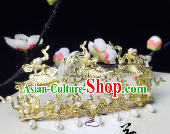 Chinese Handmade Classical Hair Accessories Golden Hair Crown Hairpins Hanfu Hair Stick for Women