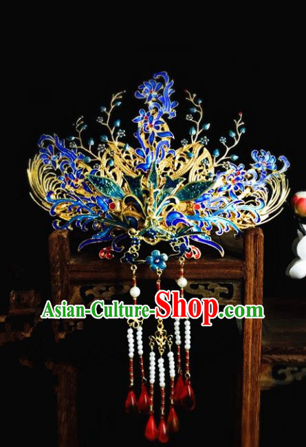 Chinese Handmade Classical Hair Accessories Blueing Phoenix Coronet Hairpin Hair Sticks Hanfu Hairpins for Women