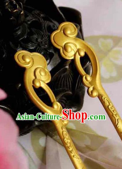 Chinese Handmade Classical Hair Accessories Golden Hairpin Hair Sticks Hanfu Hairpins for Women