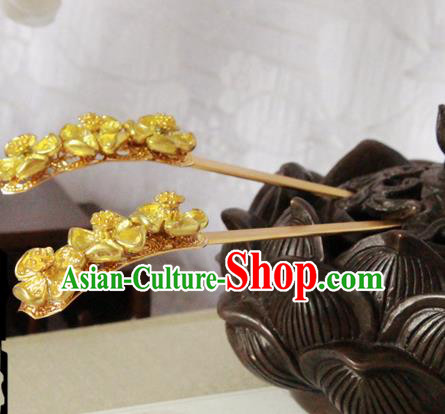 Chinese Handmade Classical Hair Accessories Hairpin Hair Sticks Hanfu Golden Hairpins for Women
