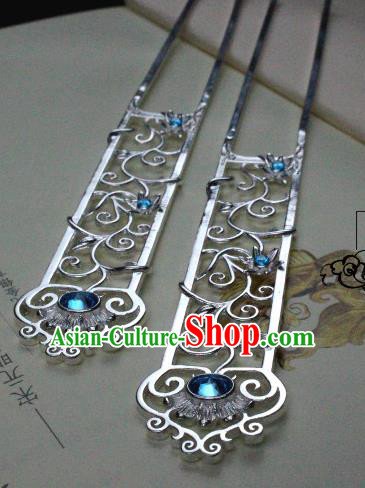 Chinese Handmade Classical Hair Accessories Hairpin Blue Crystal Hair Stick Hanfu Hairpins for Women
