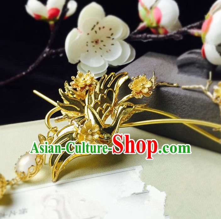 Chinese Handmade Classical Hair Accessories Hairpin Golden Phoenix Hair Stick Hanfu Hairpins for Women