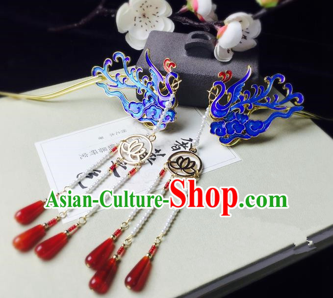 Chinese Handmade Classical Hair Accessories Hairpin Blueing Phoenix Hair Stick Hanfu Hairpins for Women