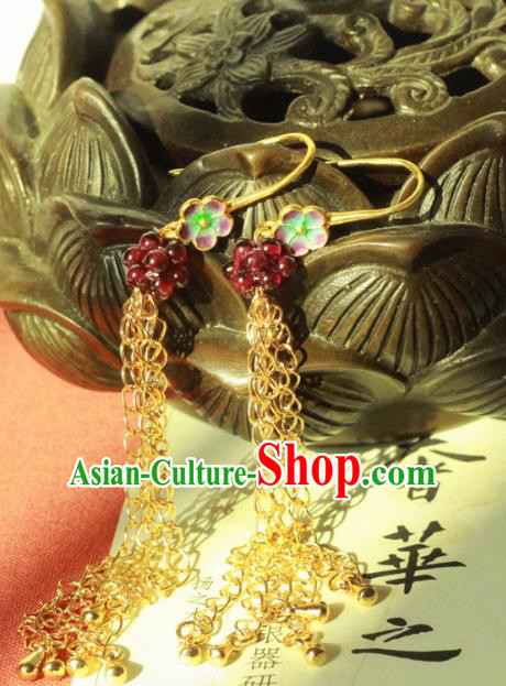 Chinese Handmade Classical Accessories Long Tassel Earrings Hanfu Eardrop for Women