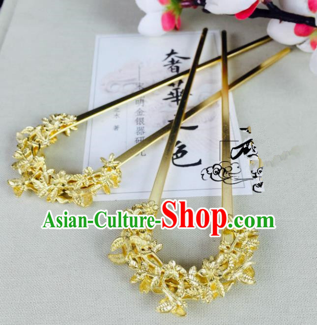 Chinese Handmade Classical Hair Accessories Wedding Hair Stick Golden Hairpins for Women