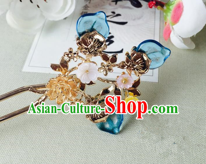 Chinese Handmade Classical Hair Accessories Wedding Shell Flowers Hair Stick Blue Hairpins for Women