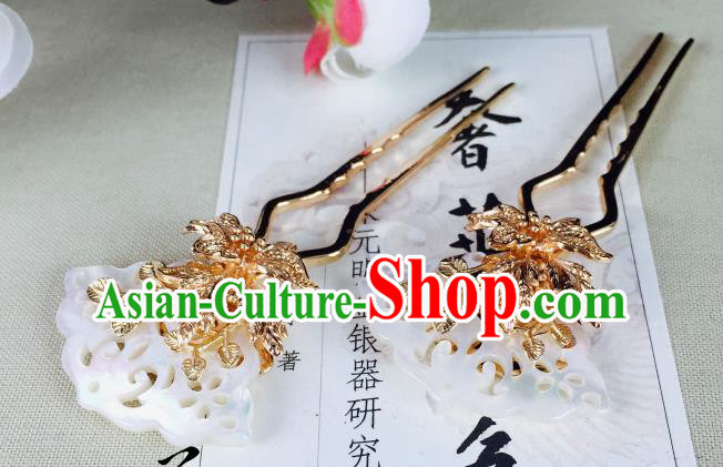 Chinese Handmade Classical Hair Accessories Wedding Shell Butterfly Hair Stick Hairpins for Women