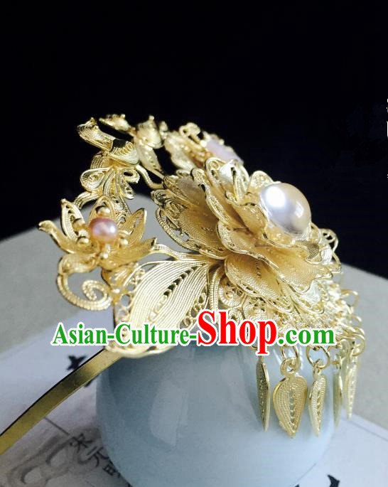 Chinese Handmade Classical Hair Accessories Golden Phoenix Coronet Tassel Hairpins Hair Stick for Women