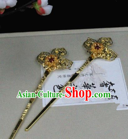 Chinese Handmade Classical Hair Accessories Golden Flower Hairpins Hair Stick for Women
