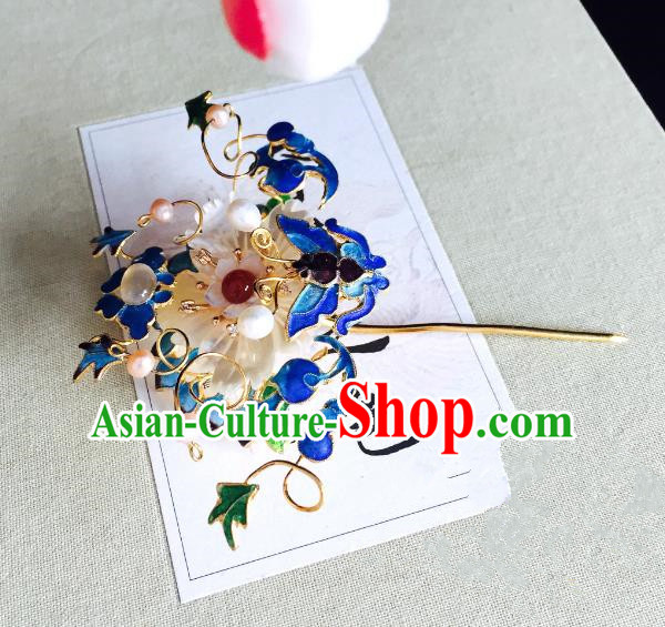 Chinese Handmade Classical Hair Accessories Blueing Butterfly Hairpins Hair Stick for Women