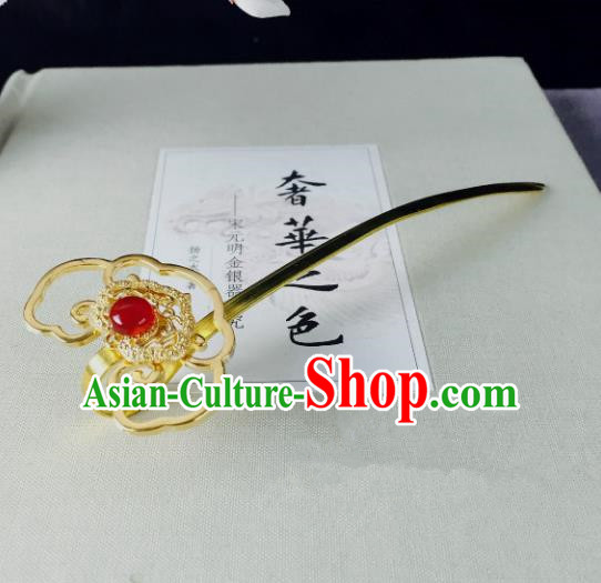 Chinese Handmade Classical Hair Accessories Golden Hairpins Hair Stick for Women