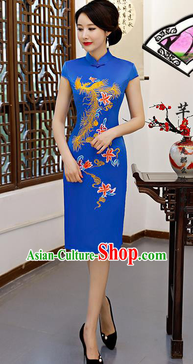 Chinese Traditional Embroidered Phoenix Blue Silk Mandarin Qipao Dress National Costume Wedding Short Cheongsam for Women