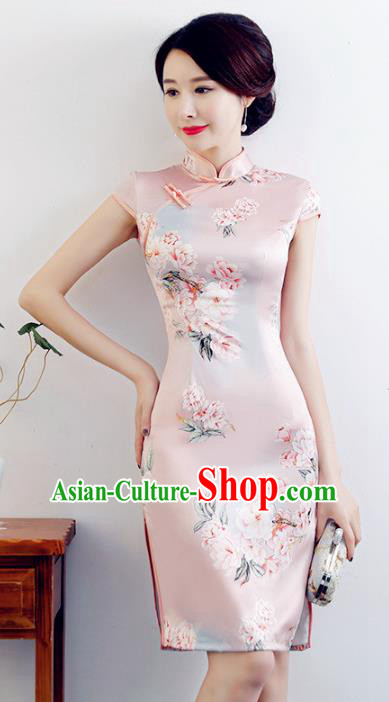 Chinese Traditional Mandarin Qipao Dress National Costume Printing Flowers Pink Silk Cheongsam for Women